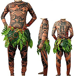 Halloween Baby Adult Men Cosplay Costume Moana Maui Tattoo T Shirt Pants Set witrh Leaves Skirt