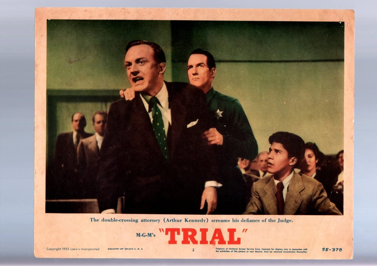MOVIE POSTER: TRIAL-ARTHUR KENNEDY-1955-LOBBY Recommended #2 CARD FN Cheap