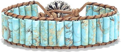 sedmart 7 Chakra Bracelets for Women with Real Stones Leather Wrap Healing Bead Bracelet Women Men Boho Friendship Jewelry…