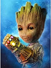 Betionol DIY 5D Diamond Painting Kits for Kids & Adults, Full Drill Crystal Rhinestone Painting by Number Kits with The Theme of Babby Groot, 12 x 16 inch