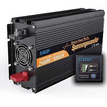 CARRYBATT Power Inverter Onda Sinusoidale Pura 2000W 4000W Invertitore di Potenza DC da 24V a AC 220V 230V con Telecomando con Presa AC /& 2.1A Porta USB