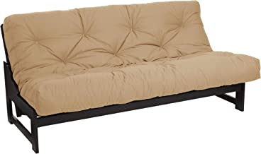 Mozaic Full Size 8-inch Cotton Twill Gel Memory Foam Futon Mattress, Khaki