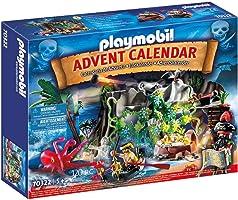 PLAYMOBIL Adventskalender 70322 Schatzsuche in der Piratenbucht mit zahlreichen Figuren, Tieren und Zubehörteilen hinter...
