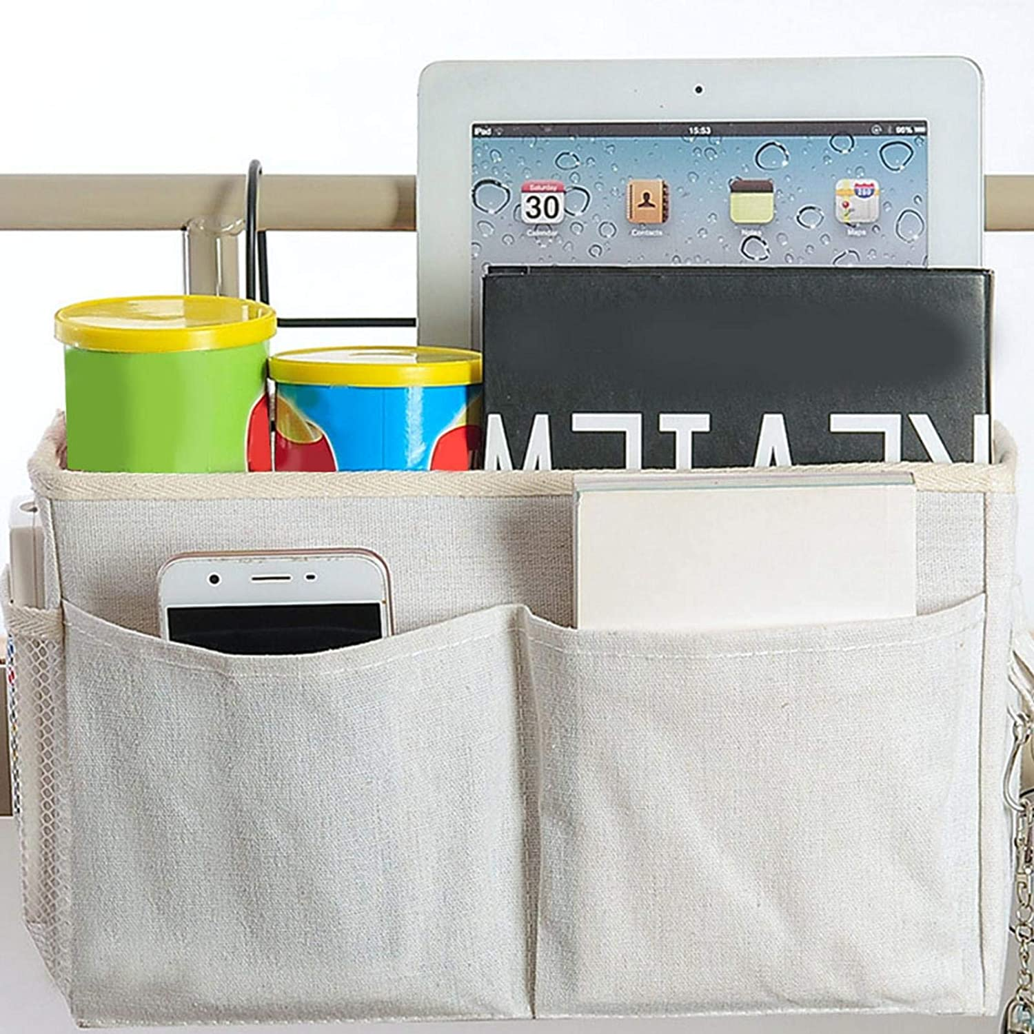 Storage Hanging Bag Large Capacity Canvas Storage Basket for Dormitory Bed Sofa for Tablets Books Snacks and More,White//Gray Luckycyc Bedside Caddy