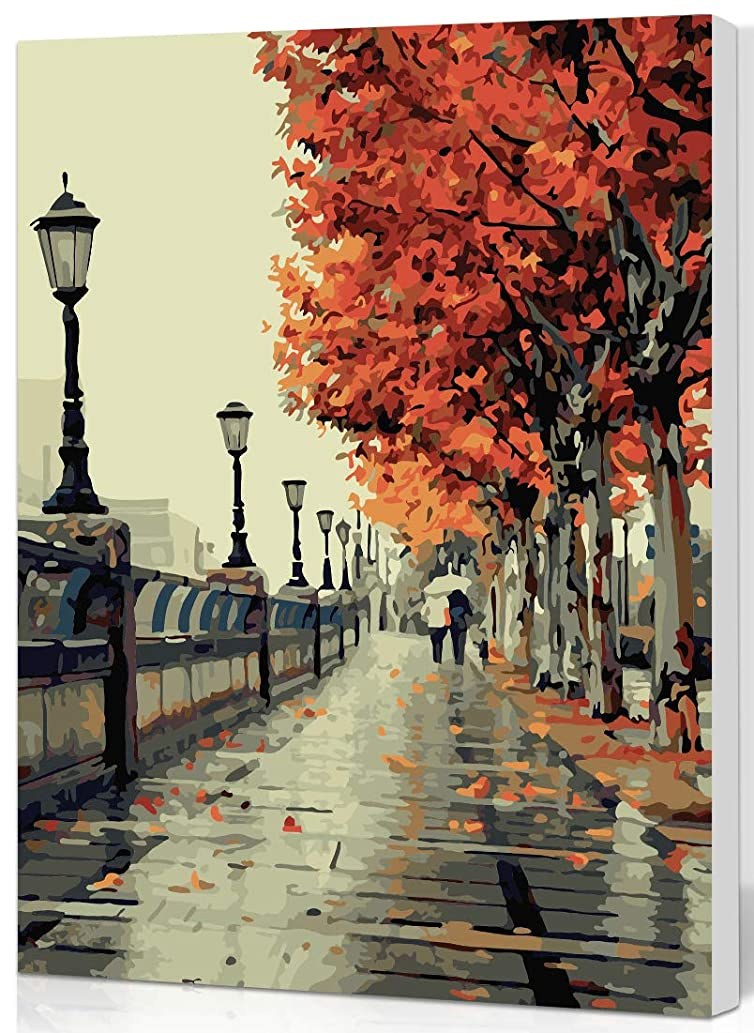 SHUAXIN DIY Oil Painting Paint by Number Kits DIY Canvas Painting by Numbers Acrylic Oil Painting for Adults Kids Romantic Autumn Love Wooden Framed