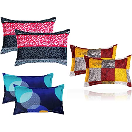 """BSB HOME® Present Designer Printed 6 Piece Cotton Pillow Cover Set- 20"""" X30"""" Inches, (White, Blue, Yellow, Maroon, Grey and Pink)"""