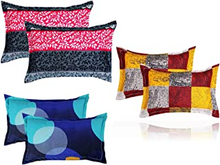 "BSB HOME® Present Designer Printed 6 Piece Cotton Pillow Cover Set- 20"" X30"" Inches, (White, Blue, Yellow, Maroon, Grey an..."