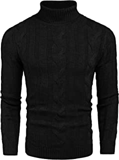 Men's Ribbed Turtleneck Slim Fit Casual Cable Knitted Pullover Sweaters