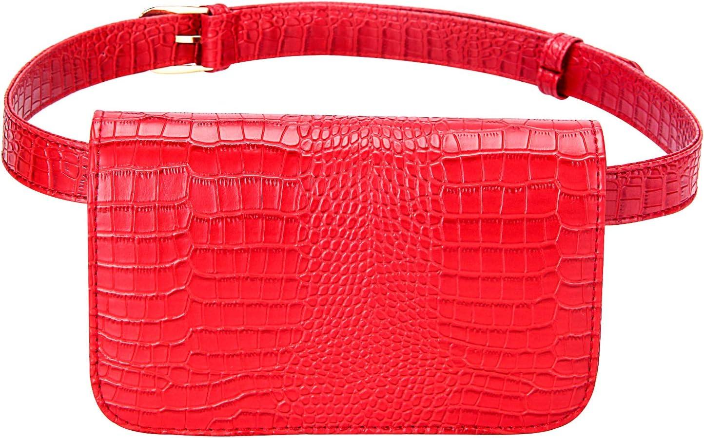 Badiya Women's 5% OFF Mini Waist Bag Leather Cell Packs Fanny Crocodile lowest price