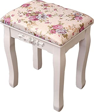 Vanity Stool Makeup Dressing Stool, Padded Bench with Pine Wood Legs, Large Rectangle Piano Chair Makeup Seat for Bedroom, Ea