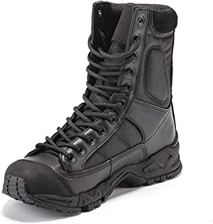 Aegilmc Men Combat Tactical Boots, Shoes for Hiking Delta Military Commando Desert Tactical Boots Sports Outdoor Hiking Combat Boots Laced Shoes Work Utility,Black,44EU