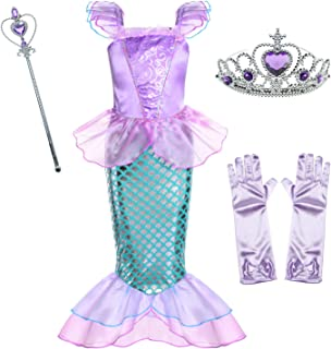 Sponsored Ad - Little Girls Mermaid Princess Costume for Girls Dress Up Party with Gloves,Crown Mace 3-10 Years