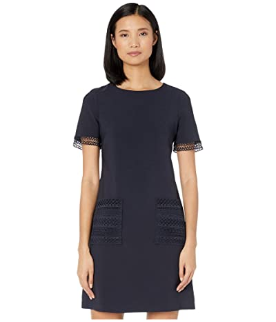 Maggy London Shift Dress with Lace Trim Pockets (Dark Navy) Women