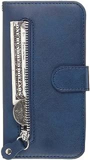 OMATENTI iPhone 7 / iPhone 8 ケース, 軽量 PUレザー 薄型 簡約風 人気カバー バックケース iPhone 7 / iPhone 8 用 Case Cover, 液晶保護 カード収納, 財布とコインポケット付き, 青