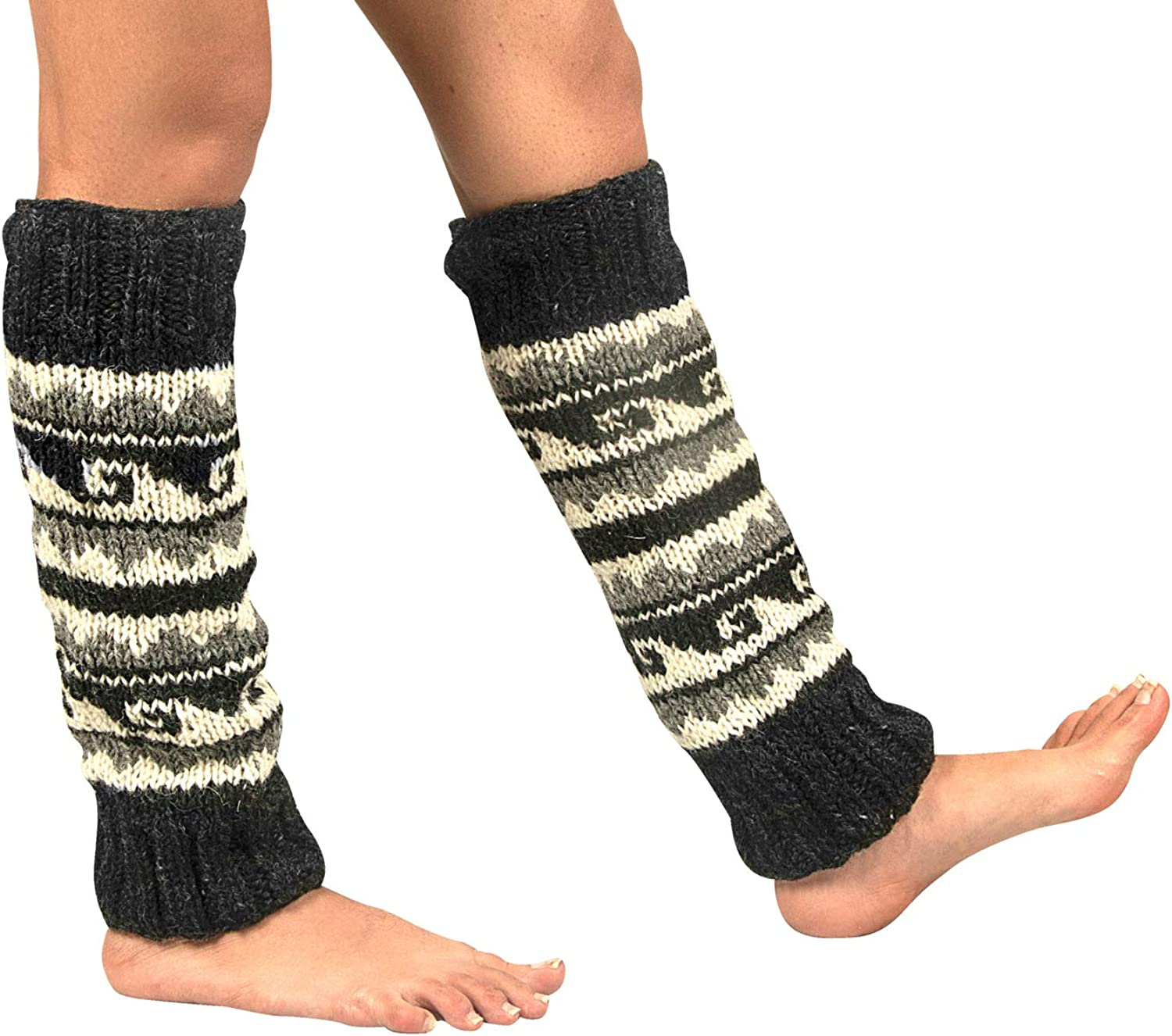 100% Wool Leg Warmers Knitted Lady Woven Warm Winter Knee High Long Cold Crotchet