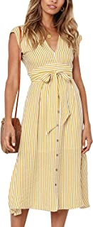 DDSOL Women`s V Neck Striped Bow Tie Waist Button Down Sleeveless V Neck Swing Midi Dress