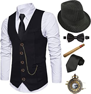 1920s Mens Fedora Hat,Gatsby Gangster Vest,Vintage Pocket Watch,Plastic Cigar,Pre Tied Bow Tie,Tie