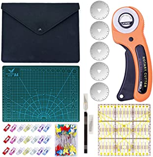 Queta Cutter Rotatif Kit de Couteau Rotatif Tapis de Découpe A4 Roulette Couture Tissu avec 5 Lames Remplaçables Outil de ...