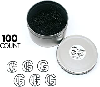 Butler in the Home Pick Your Favorite A-Z Alphabet Letter or 0-9 Number - 100 Count Black Colored Paper Clips for Initials or Birthdate - Comes in Round Tin with Lid and Gift Box (Letter G)