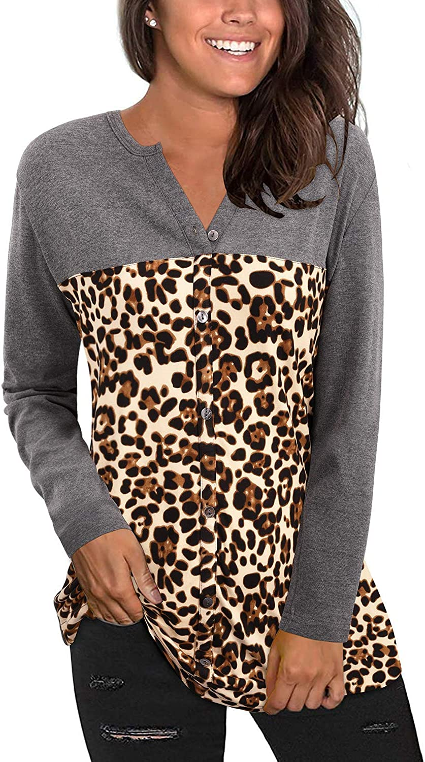 KILIG Women's V Neck Long Sleeve Casual Leopard Print Color Block T Shirt Loose Button Down Blouse Tunic Tops(Dark Gray-030,X-Large)