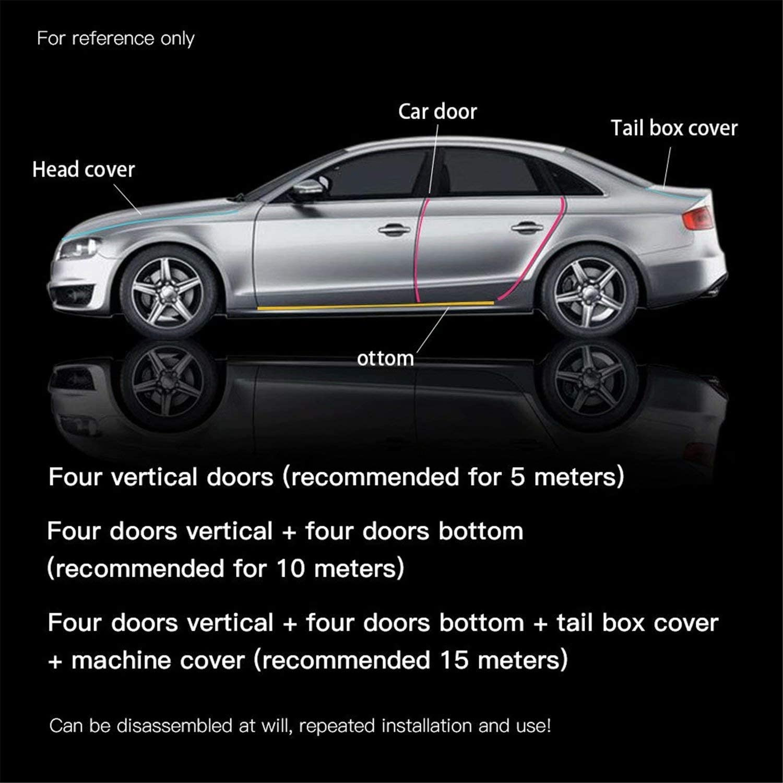 2In x 33Ft, Black ZENHOX Car Door Guard Sill Protector Front/&Rear Bumper Protector 5D Carbon Fiber Wrap Film Self-Adhesive Waterproof Anti-Collision Strip Car Door Edge Guard Fits for Most Vehicles
