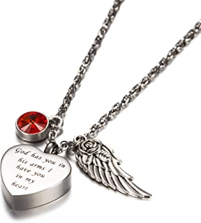 God has You in his arms with Angel Wing Charm Cremation Jewelry Keepsake Memorial Urn Necklace with Birthstone Crystal