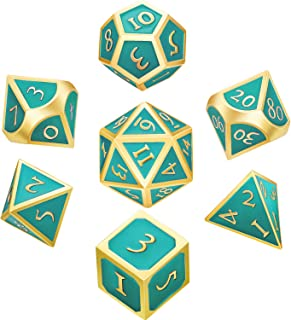 7 Pieces Metal Dices Set DND Game Polyhedral Solid Metal D&D Dice Set with Storage Bag and Zinc Alloy with Enamel for Role Playing Game Dungeons and Dragons, Math Teaching (Golden Edge Turquoise)