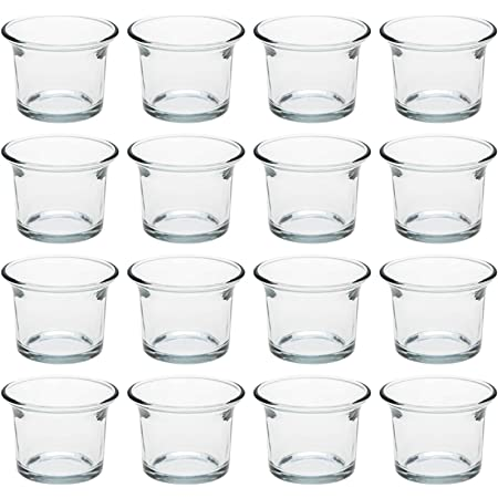 Birthday 24 PK Royal Imports Clear Glass Tealight Candle Holders for Wedding Holiday /& Home Decoration