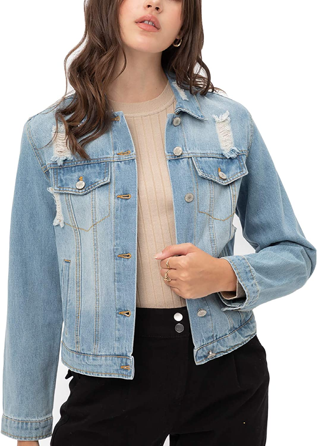 Women's Casual Vintage Distressed Cropped Long specialty shop Denim Sleeve Jean Ranking TOP9