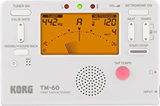 KORG KO-TM60WH TM-60 Combo Tuner Metronome with LED Screen, White