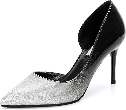 XIAOYY mujere Bombas de Punta Estrecha Formal zapatos Tacones Aguja Alta Sexy Vestir 8CM