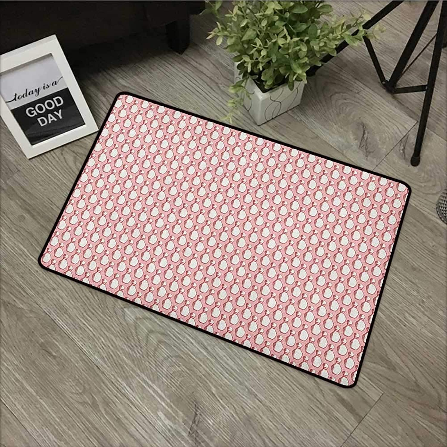 Bathroom Door mat W35 x L59 INCH Bowling,Sketchy Pins in Vintage Style on Pinkish Backdrop Sports Leisure Time Activity, Coral Cream Non-Slip, with Non-Slip Backing,Non-Slip Door Mat Carpet
