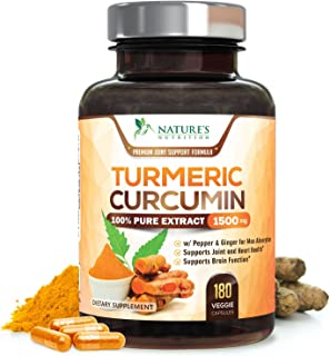 Turmeric Curcumin 100% Pure Extract 95% Curcuminoids with Bioperine Black Pepper for Best Absorption, Best Joint Pain Relief, Made in USA, Turmeric Pills by Natures Nutrition - 180 Capsules
