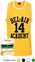 AFLGO Fresh Prince of Bel Air #14 Basketball Jersey S-XXXL – 90's Clothing Throwback Will Smith Costume Athletic Apparel Clothing Top Bonus Combo Set with Wristbands