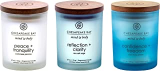 Chesapeake Bay Candle Peace + Tranquility, Reflection + Clarity, Confidence + Freedom Scented Candle Gift Set, Small Jar (3-Pack), Assorted