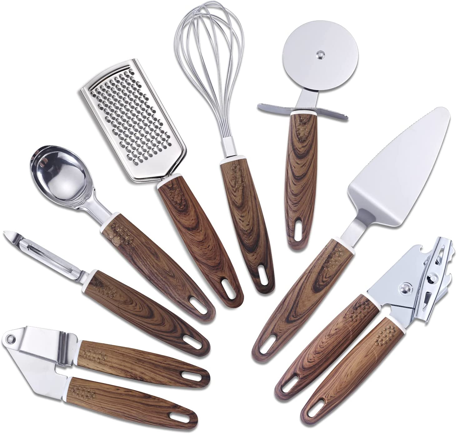 8-Piece Stainless Steel Cooking Utensil Set Can Opener Spatula Set Kitchen Pizza Tools Gadget Sets Utensils : Home & Kitchen