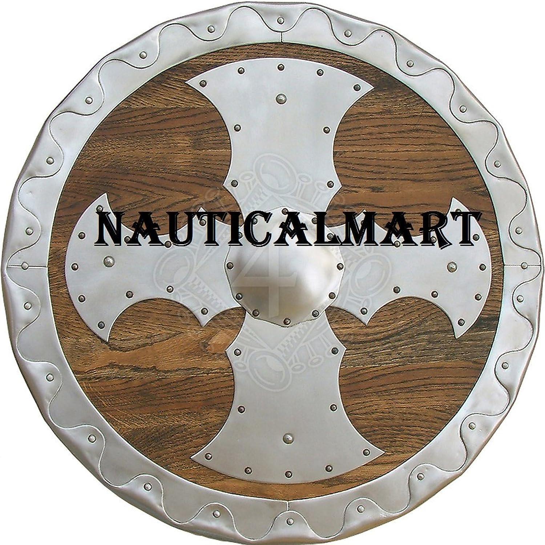 NAUTICALMART Round Shield with Metal Fittings 55cm