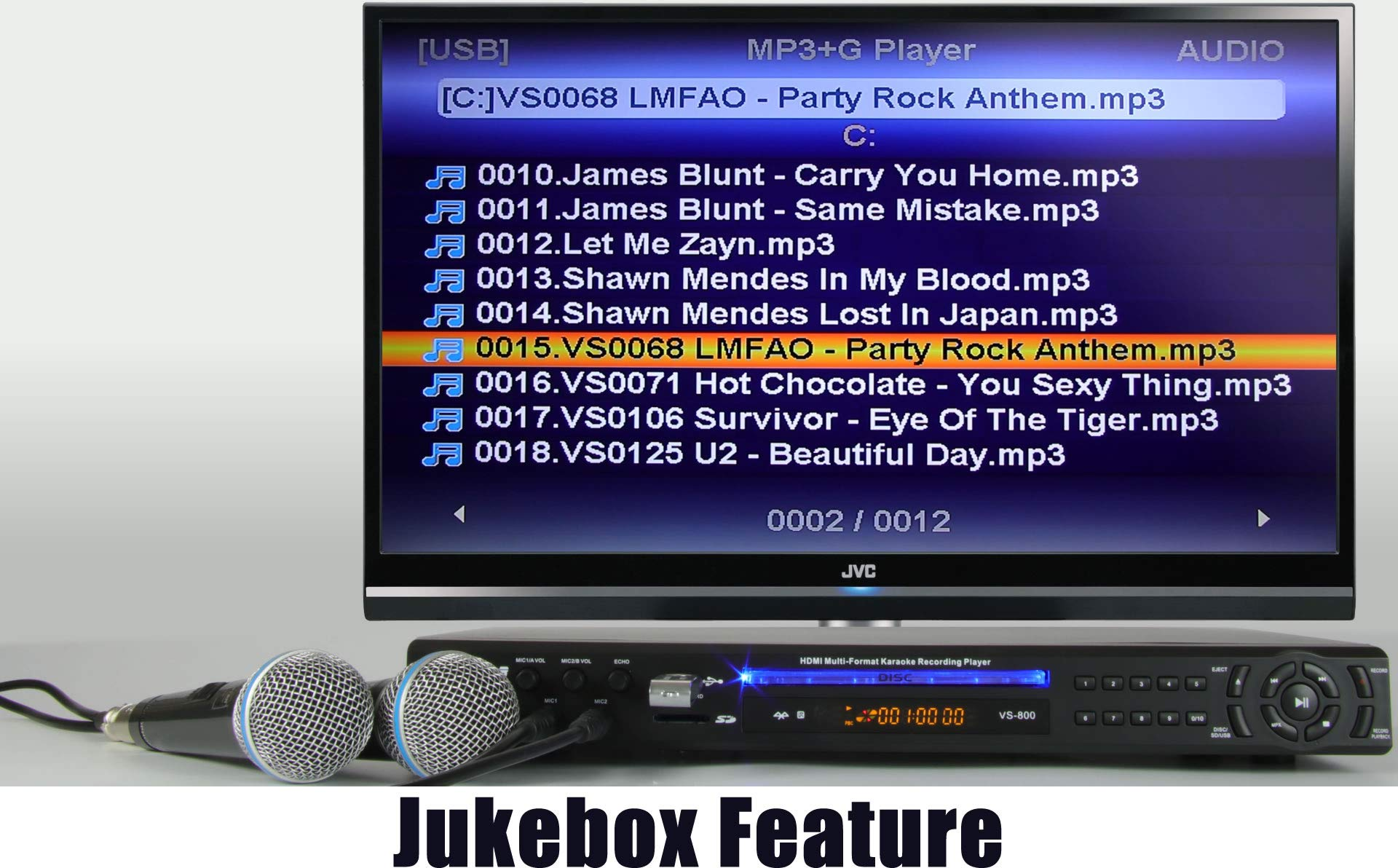 """Vocal-Star VS-800 HDMI CDG Karaoke Machine With Bluetooth 1500 Songs & 2 Wired Microphones -""""Mega Deal"""""""