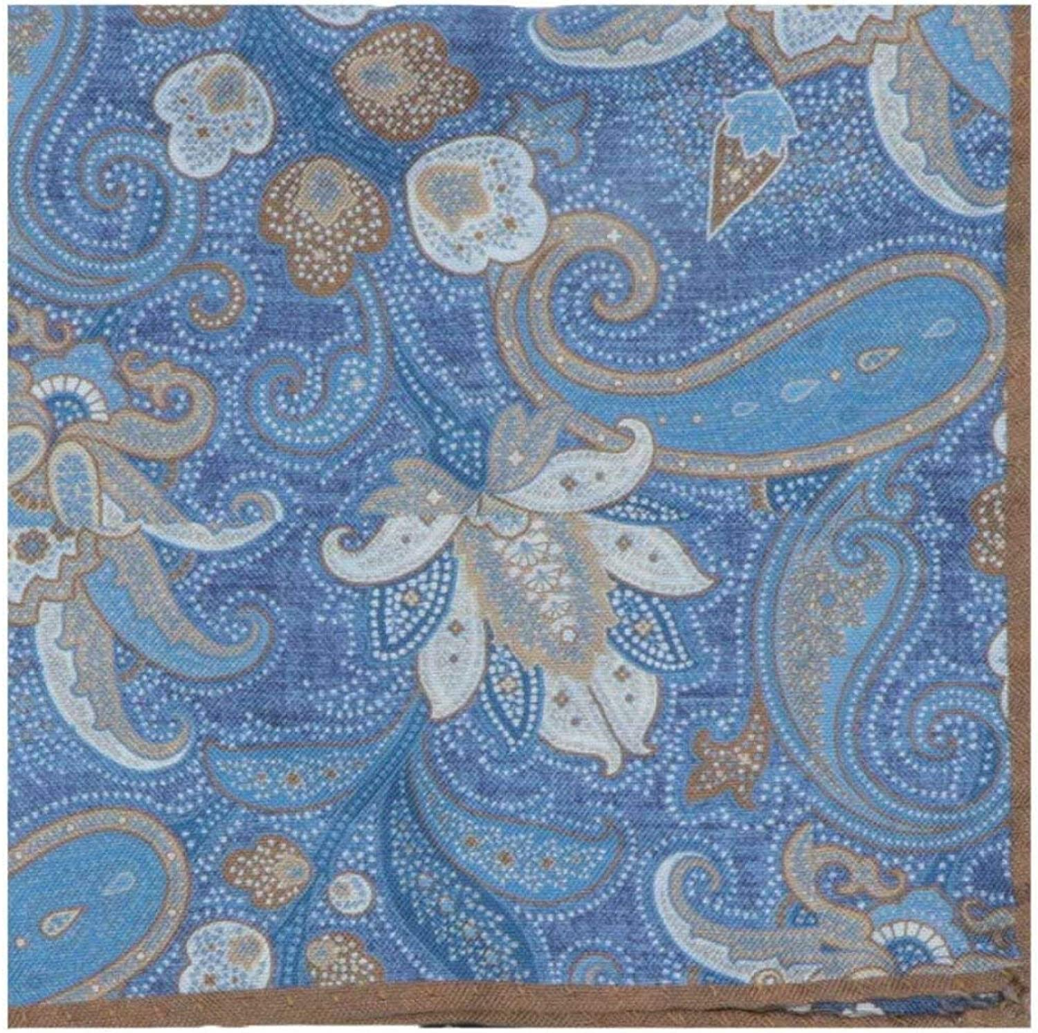 Dion Men's Double Sided Paisley Floral Bordered Pocket Square