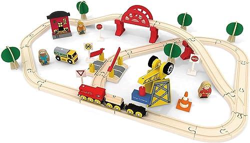high quality Tiny Land 60 Pcs Crane Train Set wholesale + 74 Pcs Wooden Train Set online sale & Battery Locomotive &Station outlet online sale