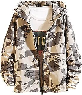 Sunward Men's Autumn Casual Fashion Printing Patchwork Jacket Zipper Outwear Coat