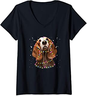 Womens Basset Hound covers by light V-Neck T-Shirt
