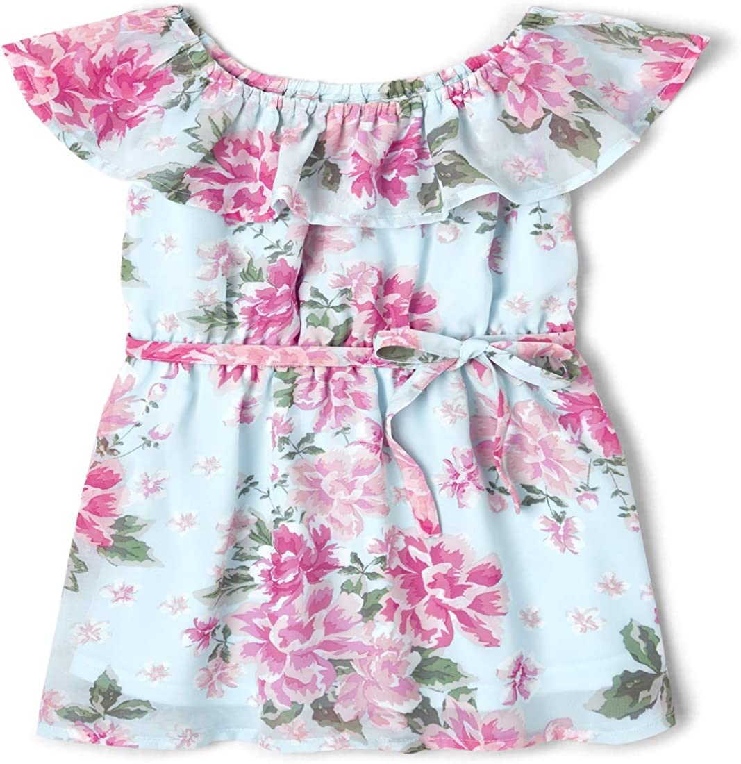 The Children's Place Baby Girls' Flounce Neck Floral Print Shirt