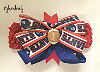 New York Giants Baby Girl Boutique Bow Crocheted Headband- Fits newborn- adult