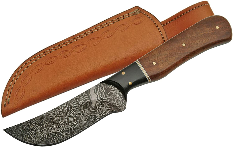 SZCO Supplies Damascus Steel Walnut Wood Skinning Knife