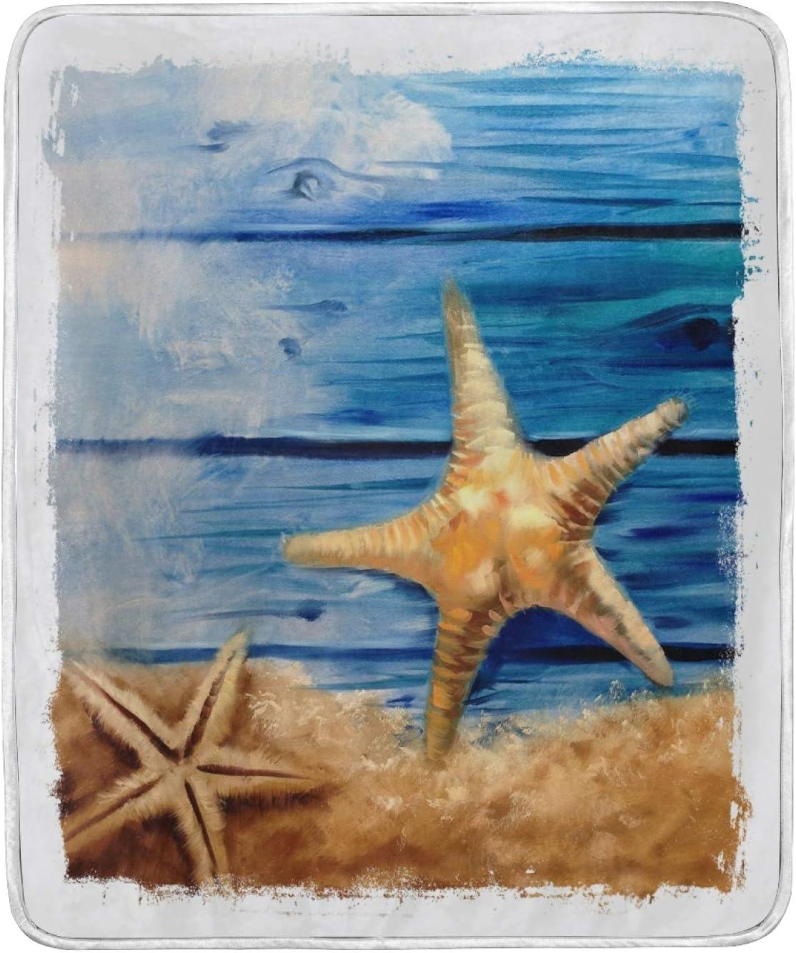 NOVTO Throw Philadelphia Mall Genuine Blanket Ocean Sea Starfish Blankets Supe Soft Wooden