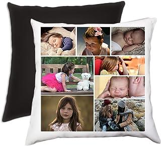 Cuscino personalizzato con collage di foto completo di imbottitura 40 x 40 cm nero