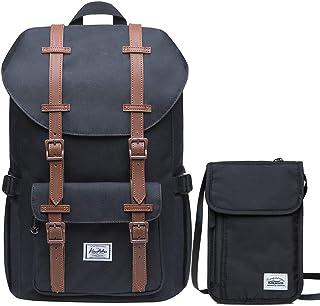 KAUKKO Rucksack Damen Herren 16 Zoll Backpack für 13 Notebook mit Reisepass Tasche Familien Reise Brieftasche Dokumente Organizer/ 20  13cm SchwarzEp5-7-black-Set