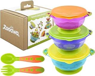 Zooawa Kit de Tazón con Ventosa para Bebé, Muitocolor Bol Antideslizante con Tapa, Juguete de Alimentación para Bebés de Más de 6 Meses, PP Material Comestible sin BPA, Anti-caliente, 3PCS