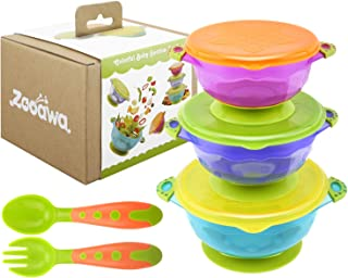 Zooawa Baby Suction Bowls + Fork Spoon Set, 3 Pack Nonslip Spill Proof BPA-Free Feeding..